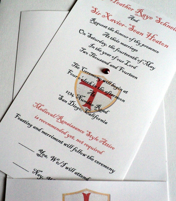 Medieval Wedding Invitation Wording: Items Similar To Game Of Thrones Wedding Invitation