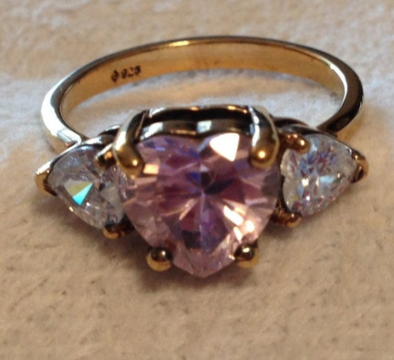 Hold.   Vintage Sterling Silver Heavy Gold Plate Ring with Heart Amethyst and Two Diamond or QZ Heartshold