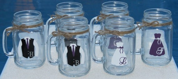 8 Mason Jars Personalized Bridesmaid and Groomsman Glasses.  Mason Jar with dress and shirt with vest.