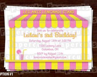 Lemonade Theme Birthday Party Invitation   Yellow & Pink   Personalized   Printable DIY Digital File
