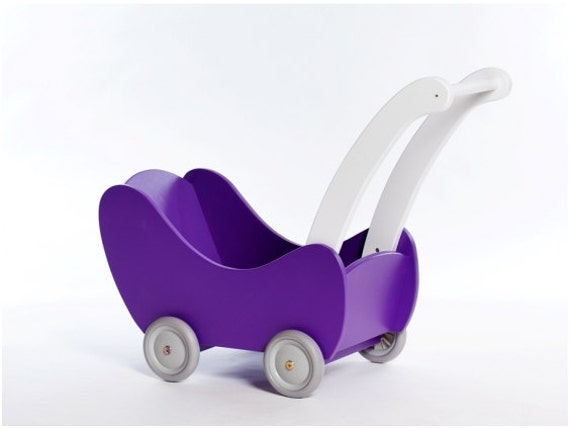 Wooden dolls stroller / pram / buggy Violet and White