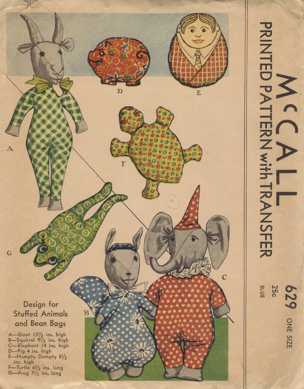 Mccall 1930s Sewing Pattern Rare Stuffed Animals Baby Toys