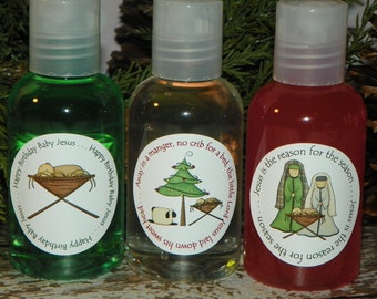 Stocking Stuffers - Hand Sanitizer, Shower Gel or Lotion - Away in a Manger (Set of 3)