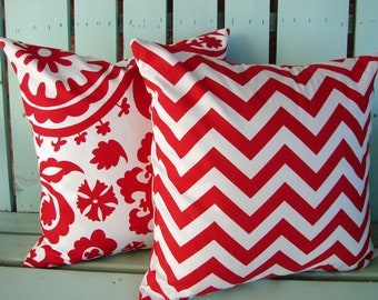 """Sale Set of 2 18"""" X 18"""" red and white Suzani print-Chevron print- Christmas-holiday-decorative pillow cover-gifts under 40-throw pillow"""