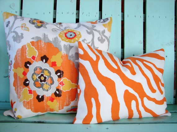 Set of two coral, gray,yellow,orange suzani print, zebra print outdoor indoor fabric- decorative pillow cover-throw pillow-accent pillow
