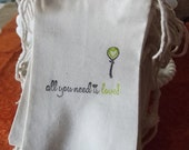 Hand stamped Wedding All You Need is Love Balloon Heart muslin favor bag