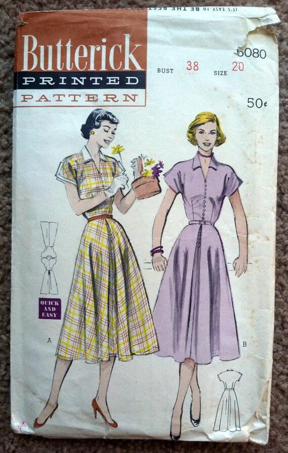 1950's Butterick Belted Button-up Dress Pattern - Bust 38 - no. 6080