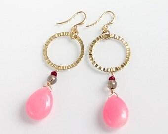 Gold & Pink Earrings - Pink Jade, Smoky Quartz, Textured Gold Link, Hoop