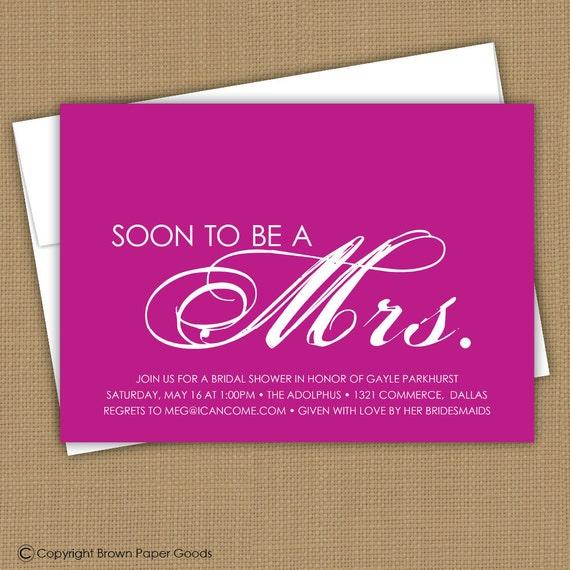 Bridal Shower Invitation. Printable (Soon to be a Mrs.) Wedding Shower invitation