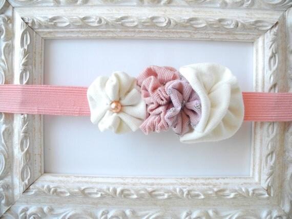 Elastic headband baby  girl fabric flowers - pink white newborn gift - handmade - ready to ship