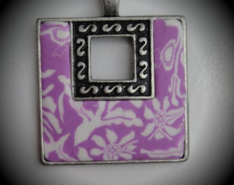 Silver Square Pendant With Polymer Clay