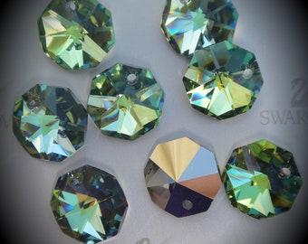 Art 6401 Genuine Swarovski Crystal Octagon Pendants 12MM SAHARA GREEN