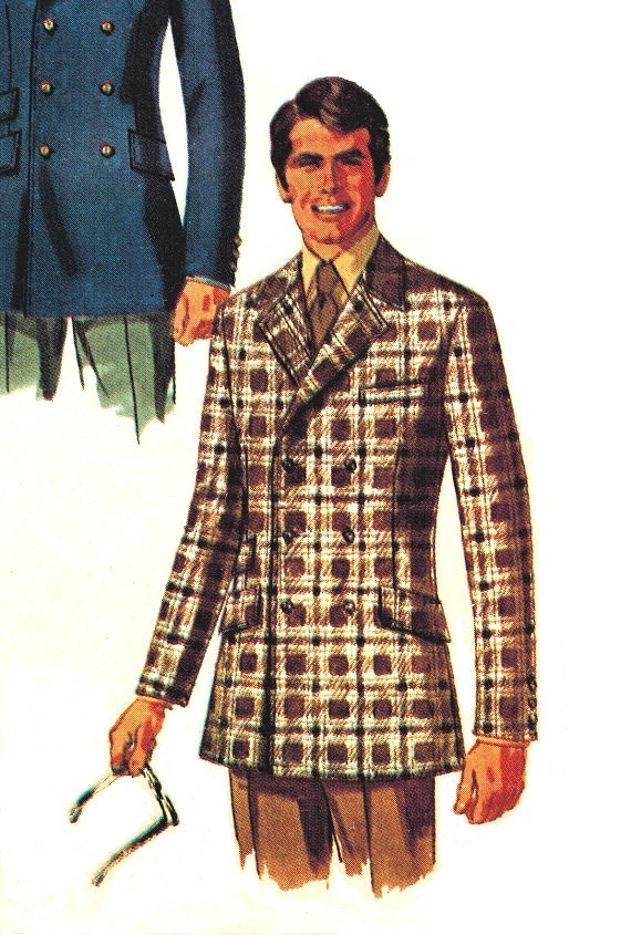"Simplicity 8469 Vintage Mod 60s UNCUT  Double Breasted Suit Jacket Blazer for Men ""Very Brian Jones"" Sewing Pattern"