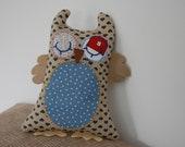 Handmade Teal Hearts baby owl