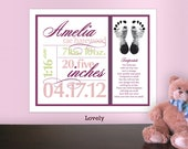 Printable Birth Stats Print with Footprint, Custom Nursery Wall Art Birth Announcement