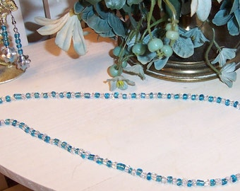 Blue and Clear White Beaded Necklace and BellFlower Earrings Set