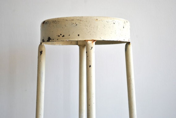 Off White Metal Industrial Stool