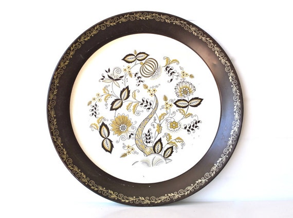 Mid Century Round Serving Tray - Brown, White, Gold - Large