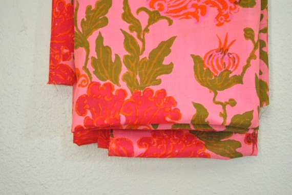 Vintage Silk Fabric - Pink and Green Floral