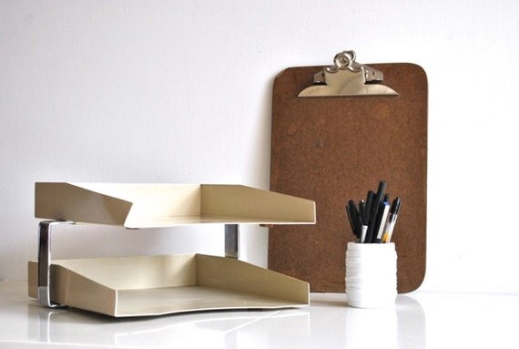 Off White Metal Paper Tray - Two Tier - Retro Vintage Office