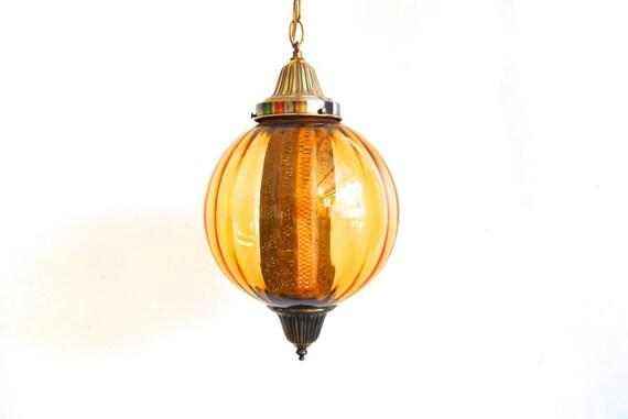 Amber Yellow Hanging Swag Light - Glass Globe Retro Lamp