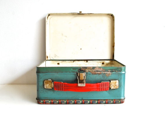 Vintage Metal Lunchbox - Red Plaid and Seafoam Green