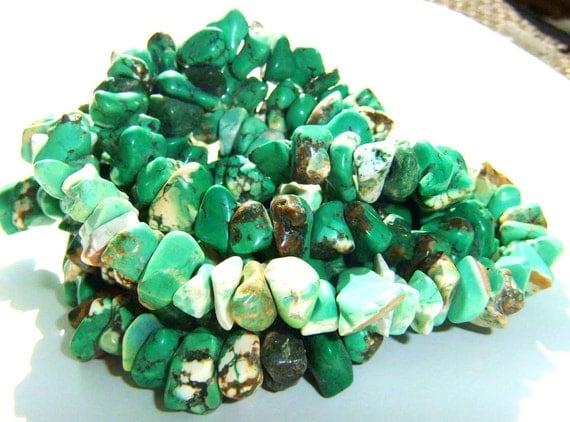 1 Full Strand Creme De' Mint Chunky Nugget Magnesite Beads