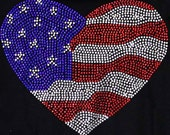 USA Flag Heart Rhinestone Hot Fix Iron On Transfer