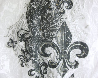 Absolutely Stunning Swarovski Crystal Fleur De Lis and Eagle w/ Tanzanite Eye on White Burnout Size S M L