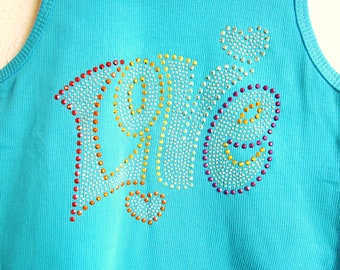 Absolutely Stunning Rhinestuds Love on Turquoise Tank Top Size Junior L Only