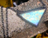Stained glass pendant triangle necklace opalescent black antique gunmetal patina