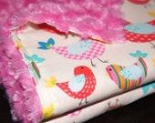 SALE - Baby Girl Minky Blanket -  Baby Blanket - Stroller Blanket - Bird Blanket - Crib Blanket - Monogramming Available