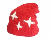 Knitting hat- Handmade hat- Red hat- Stars- Red beany- Knitting red hat.- Will keep you warm at winter and autumn...Stylish hat