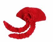 Crochet hat, Red, Ear flap hat, Handmade crochet hat, Wool crochet red ear flap hat, Rose hat, Red crochet hat, Stylish hat, With flower