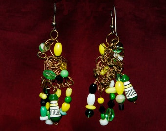 OOAK Lime Green Lemon Yellow Dancing Dangles