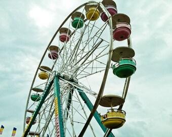 Ferris Wheel photo, carnival photo, Nursery Art, colorful, summer fair, Round the World- 8x10 fine art photograph