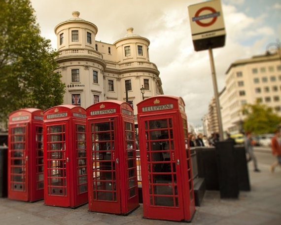 London Photograph, Red Telephone Box, England, Iconic, Travel Photography - London Calling - 8x10 fine art photograph