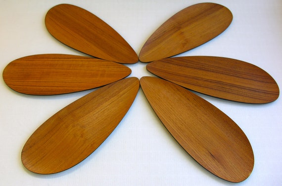 RESERVED 6 Danish Modern Teak & Black Laquer Petal Shaped Platters