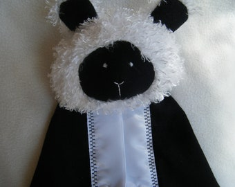 Cute Little Black and White Lamb Security Blanket - Blanket Buddy - 100% HANDMADE