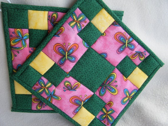 Pink, Green and Yellow Quilted Potholders - Set of 2