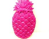 pineapple wall decor, neon home decor, retro, fruit, pop art, kitsch, hot pink magenta, plaster plaque, tropical