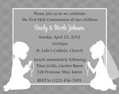 First Communion Invitation - Twins  (Digital File)