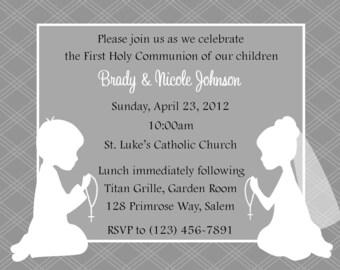 First Communion Invitation - Twins  (Digital File)