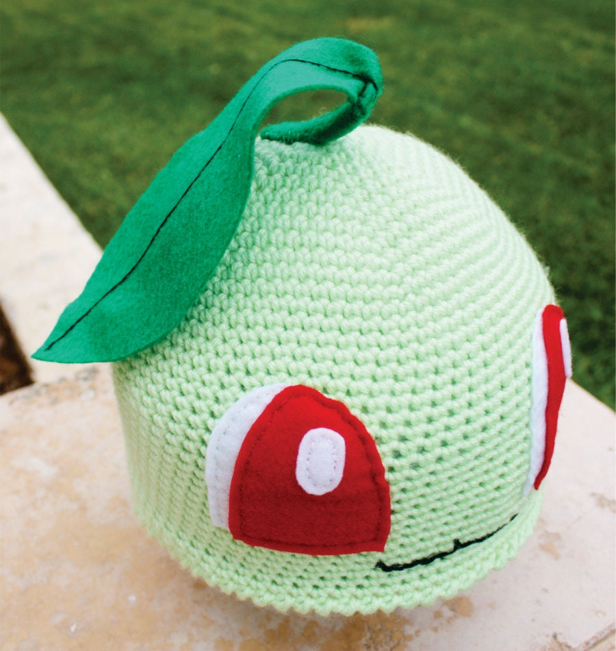 Chikorita Pokemon Inspired Hat With Leaf: Japanese by ...