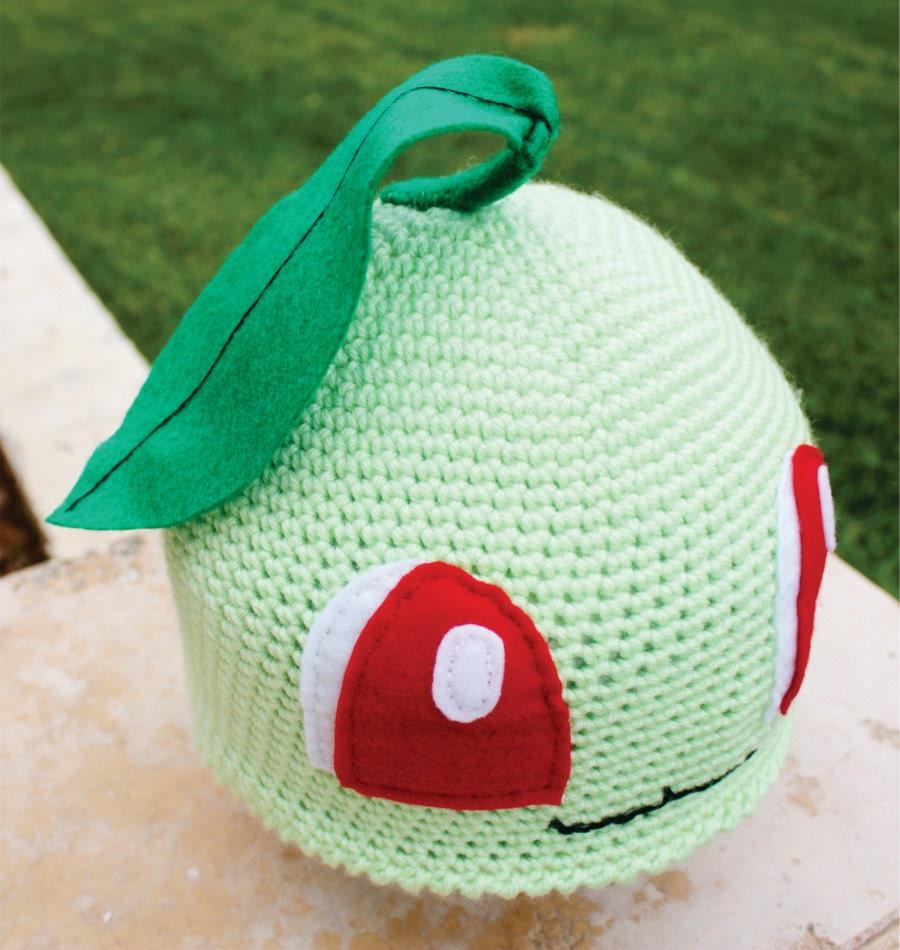 Free Crochet Pattern Pokemon Hat : Chikorita Pokemon Inspired Hat With Leaf: Japanese by ...