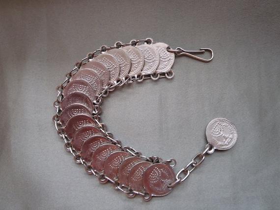 Vintage Judaica silvertone bracelet Star of David and Menorah discs 7-1/2 inch
