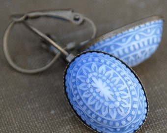 Bohemian Style Baby Blue Mosaic Leverback Earring Antique Brass