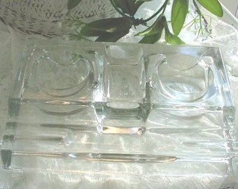 Vintage Glass Inkwell Two Trays and Pen Trays