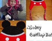 "Crocheted ""Mickey"" Earflap Hat"