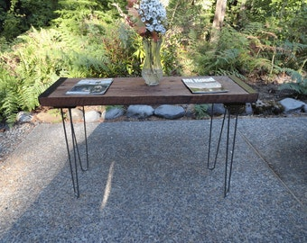 Industrial Sofa Table from old barnwood with hairpin legs
